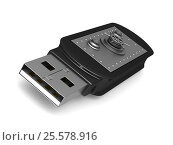 Купить «usb flash drive on white background. Isolated 3D image», иллюстрация № 25578916 (c) Ильин Сергей / Фотобанк Лори