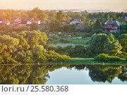 Купить «Весенний пейзаж - деревня на рассвете возле реки, вид с высоты птичьего полета», фото № 25580368, снято 28 июня 2015 г. (c) Зезелина Марина / Фотобанк Лори