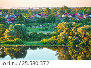Купить «Summer rural landscape with small countryside in the forest near the river», фото № 25580372, снято 28 июня 2015 г. (c) Зезелина Марина / Фотобанк Лори