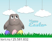 Купить «Easter (Pasch). Rabbit and Easter eggs on meadow», иллюстрация № 25581832 (c) Анастасия Улитко / Фотобанк Лори