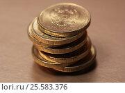 Купить «Стопка монет номиналом 10 рублей», эксклюзивное фото № 25583376, снято 20 февраля 2017 г. (c) Яна Королёва / Фотобанк Лори