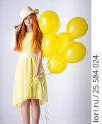 Купить «Young woman with balloons», фото № 25584024, снято 16 февраля 2017 г. (c) Типляшина Евгения / Фотобанк Лори