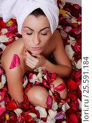 Купить «Beautiful female in bath with rose petal. Body care.», фото № 25591184, снято 24 октября 2014 г. (c) Воронин Владимир Сергеевич / Фотобанк Лори