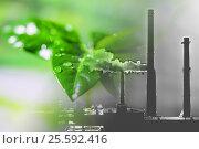 Купить «Производственные заводские трубы на фоне зеленого растения», фото № 25592416, снято 11 ноября 2012 г. (c) Сергеев Валерий / Фотобанк Лори