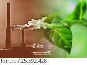 Купить «Производственные заводские трубы на фоне зеленого растения», фото № 25592428, снято 11 ноября 2012 г. (c) Сергеев Валерий / Фотобанк Лори