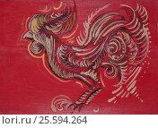 Петушок на красном фоне ( техника живопись масло) (2017 год). Редакционное фото, фотограф Elena Kucherenko / Фотобанк Лори