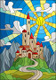 Illustration in stained glass style landscape with old castle on the background of sky, sun and mountains, иллюстрация № 25596364 (c) Наталья Загорий / Фотобанк Лори