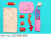 Vintage Pink And Red Accessories For Sewing. Стоковое фото, фотограф Светлана Сухорукова / Фотобанк Лори