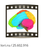 Creative concept with 3d rendered colourful brain. The film strip. Стоковая иллюстрация, иллюстратор Guru3d / Фотобанк Лори