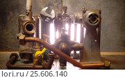 Купить «The part of gas boiler, water fittings and adjustable spanner», видеоролик № 25606140, снято 4 февраля 2010 г. (c) Куликов Константин / Фотобанк Лори