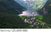 Купить «Geiranger fjord, Norway.», видеоролик № 25609980, снято 25 января 2017 г. (c) Андрей Армягов / Фотобанк Лори