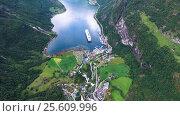 Купить «Geiranger fjord, Norway.», видеоролик № 25609996, снято 24 января 2017 г. (c) Андрей Армягов / Фотобанк Лори