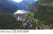 Купить «Geiranger fjord, Norway.», видеоролик № 25610004, снято 24 января 2017 г. (c) Андрей Армягов / Фотобанк Лори