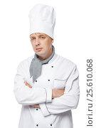 Купить «vertical photograph of 30-year-old cook on a white background», фото № 25610068, снято 20 июня 2016 г. (c) Константин Лабунский / Фотобанк Лори