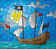 Illustration in stained glass style with a pirate ship in the sun, a cloudy sky and ocean, иллюстрация № 25612612 (c) Наталья Загорий / Фотобанк Лори