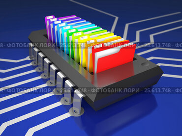 Chip and office folders on printed circuit board (3d illustration)