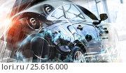 Купить «Close of elegant car . Mixed media», фото № 25616000, снято 19 июня 2019 г. (c) Sergey Nivens / Фотобанк Лори