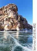 Купить «Байкал. Вид на гору Шибетэ со льда в солнечный февральский день», фото № 25616492, снято 26 февраля 2017 г. (c) Виктория Катьянова / Фотобанк Лори