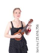 Купить «Girl with a ukulele», фото № 25616756, снято 20 апреля 2014 г. (c) Argument / Фотобанк Лори