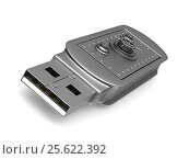 Купить «usb flash drive on white background. Isolated 3D image», иллюстрация № 25622392 (c) Ильин Сергей / Фотобанк Лори