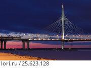 Купить «Западный скоростной диаметр. Вантовый мост. Санкт-Петербург», фото № 25623128, снято 25 февраля 2017 г. (c) Роман Рожков / Фотобанк Лори