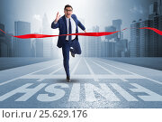 Купить «Businessman on the finishing line in competition concept», фото № 25629176, снято 20 апреля 2019 г. (c) Elnur / Фотобанк Лори