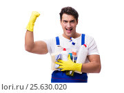 Купить «Man with cleaning agents isolated on white background», фото № 25630020, снято 31 октября 2016 г. (c) Elnur / Фотобанк Лори