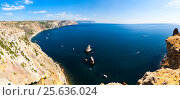 Купить «The top view on the sea and rocks of the cape Fiolent», фото № 25636024, снято 18 октября 2018 г. (c) Mikhail Starodubov / Фотобанк Лори