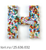 Купить «Letter H. Set of alphabet of medicine pills, capsules, tablets and blisters isolated on white.», фото № 25636032, снято 19 июня 2019 г. (c) Maksym Yemelyanov / Фотобанк Лори
