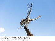 Купить «Металлическая скульптура стрекозы на фоне голубого неба», фото № 25640620, снято 24 сентября 2014 г. (c) Евгений Ткачёв / Фотобанк Лори