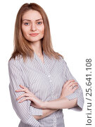 Smiling businesswoman or teacher with arm folded isolated. Стоковое фото, фотограф VictorStudio / Фотобанк Лори
