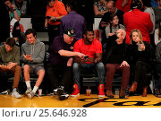 Купить «Sunday January 17, 2016, Celebs out at the Lakers game. The Houston Rockets defeated the Los Angeles Lakers by the final score of 112-95 at Staples Center...», фото № 25646928, снято 17 января 2016 г. (c) age Fotostock / Фотобанк Лори