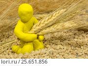 Купить «Figure plasticine man sits among the wheat and keeps holding ears», фото № 25651856, снято 28 декабря 2016 г. (c) Боронина Елена Александровна / Фотобанк Лори