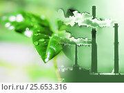 Купить «Производственные заводские трубы на фоне зеленого растения», фото № 25653316, снято 15 февраля 2017 г. (c) Сергеев Валерий / Фотобанк Лори