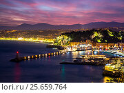 Купить «Water front of Villefranche-sur-mer harbour by night, Nice, French Riviera. France.», фото № 25659764, снято 15 августа 2018 г. (c) Nature Picture Library / Фотобанк Лори