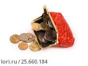 Красный кошелёк с деньгами. Стоковое фото, фотограф Юрий Морозов / Фотобанк Лори