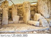 Купить «The menhirs of the temple of Hagar Qim, Malta», фото № 25660380, снято 28 июля 2015 г. (c) Serg Zastavkin / Фотобанк Лори
