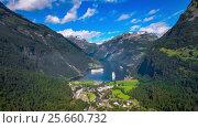 Купить «Geiranger fjord, Beautiful Nature Norway Aerial footage.», видеоролик № 25660732, снято 1 марта 2017 г. (c) Андрей Армягов / Фотобанк Лори