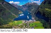 Купить «Geiranger fjord, Beautiful Nature Norway Aerial footage.», видеоролик № 25660740, снято 1 марта 2017 г. (c) Андрей Армягов / Фотобанк Лори
