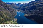 Купить «Geiranger fjord, Beautiful Nature Norway Aerial footage.», видеоролик № 25660916, снято 2 марта 2017 г. (c) Андрей Армягов / Фотобанк Лори