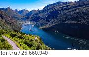 Купить «Geiranger fjord, Beautiful Nature Norway Aerial footage.», видеоролик № 25660940, снято 3 марта 2017 г. (c) Андрей Армягов / Фотобанк Лори