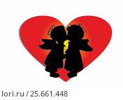 Kiss two angels on a background of red hearts. Стоковая иллюстрация, иллюстратор Ирина / Фотобанк Лори