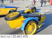 Купить «Samara, Russia - Nov,20 2016: Traffic police motorcycle with sidecar on demonstration on main square», фото № 25661476, снято 20 ноября 2016 г. (c) Юлия Батурина / Фотобанк Лори