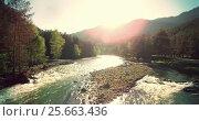 Купить «4k UHD aerial view. Low flight over fresh cold mountain river at sunny summer morning.», видеоролик № 25663436, снято 15 февраля 2017 г. (c) Александр Маркин / Фотобанк Лори