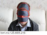 Купить «Portrait of teenager with few masks for sleeping on face», фото № 25669216, снято 25 февраля 2017 г. (c) Володина Ольга / Фотобанк Лори