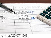 Купить «Подпись в документе. Ведомость для начисления зарплаты, калькулятор и шариковая ручка», эксклюзивное фото № 25671568, снято 6 февраля 2017 г. (c) Игорь Низов / Фотобанк Лори