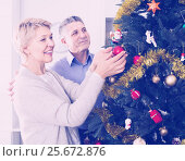Купить «Mature happy couple decorate fir-tree for holidays of Christmas and New Year», фото № 25672876, снято 21 ноября 2018 г. (c) Яков Филимонов / Фотобанк Лори