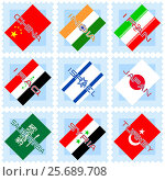 Flags of the countries of Asia. Стоковая иллюстрация, иллюстратор Silanti / Фотобанк Лори