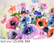 Купить «Watercolor by Waltraud Zizelmann, Garden Anemone, Bouquet,», фото № 25696384, снято 24 февраля 2014 г. (c) mauritius images / Фотобанк Лори