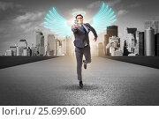 Купить «Angel investor concept with businessman with wings», фото № 25699600, снято 20 августа 2018 г. (c) Elnur / Фотобанк Лори